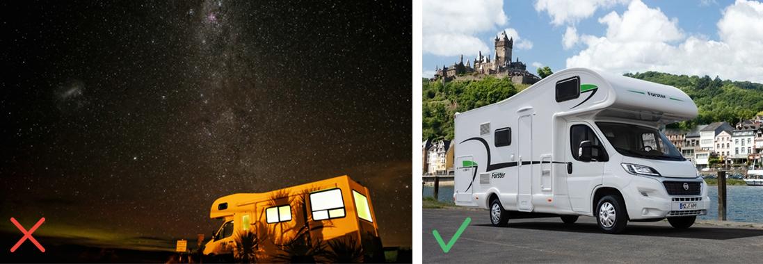Camping-car de nuit / Camping-car avec une lumière adaptée