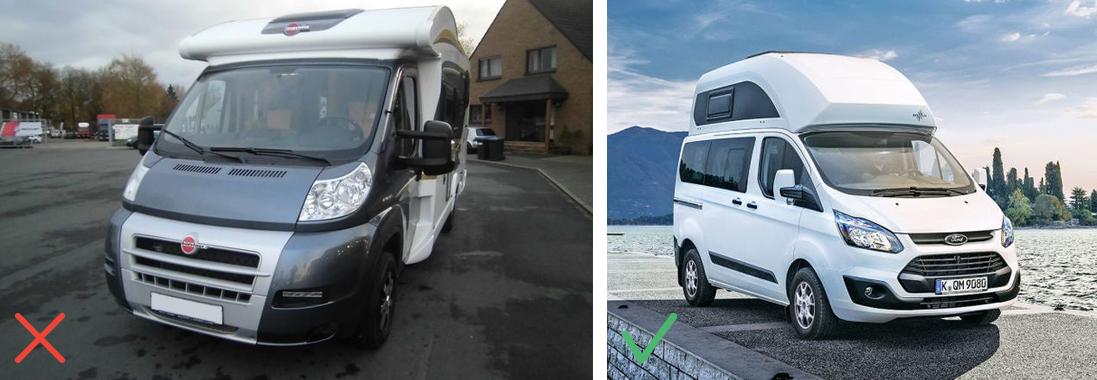 Camping-car vue de face / Camping-car vue de profil