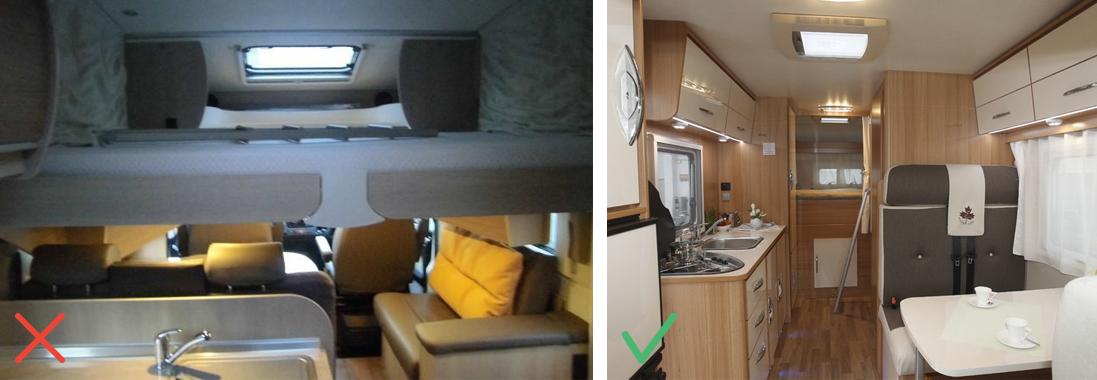 Cuisine de camping-car désordonnée / Intérieur de camping-car accueillant