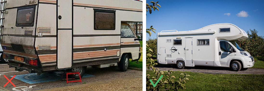Camping-car avec de la boue / Camping-car bien entretenu