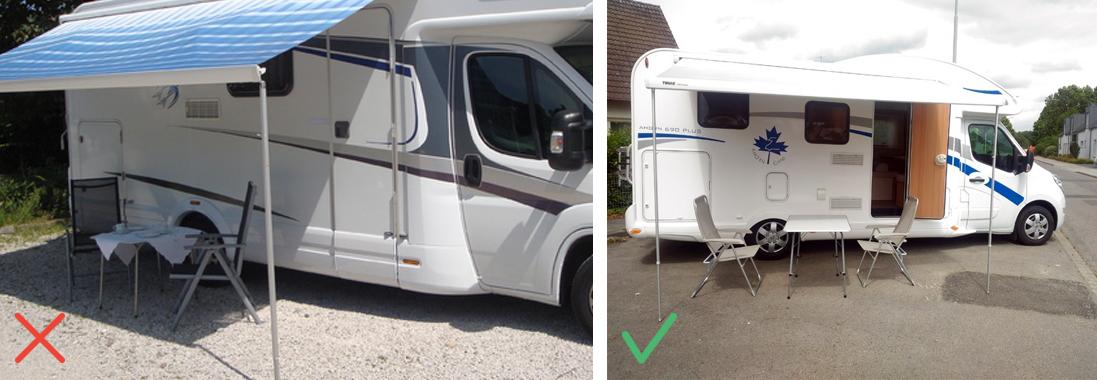 Camping-car avec du mobilier de camping / Fourgon avec un auvent et du mobilier de camping