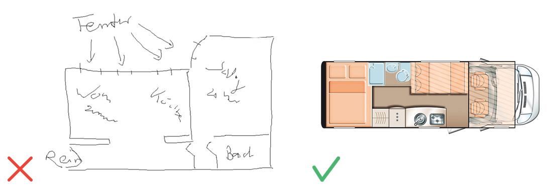 Plan illisible dessiné à la main / Plan avec configuration jour-nuit